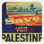Ahorre Palestina Calcomanías Cuadradas