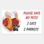 ¡Ahorre por favor a mis mascotas! Rectangular Pegatinas