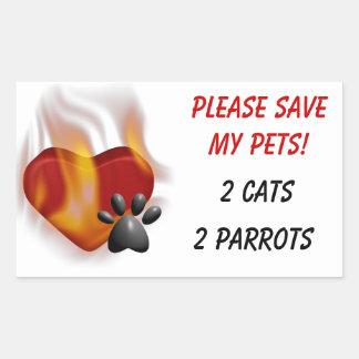 ¡Ahorre por favor a mis mascotas Rectangular Pegatinas