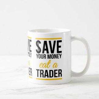 Ahorre su dinero comen a un comerciante taza básica blanca