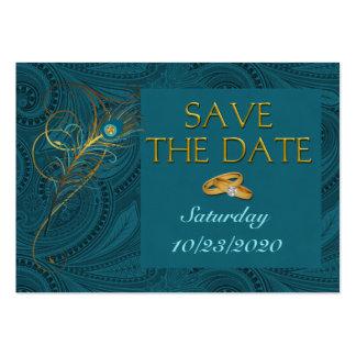 Ahorre tarjetas del Cubby del boda del pavo real d Tarjeta Personal