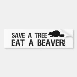 Ahorre un árbol, coma un castor pegatina para auto