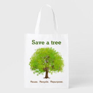 Ahorre un bolso de ultramarinos reutilizable del á bolsa reutilizable