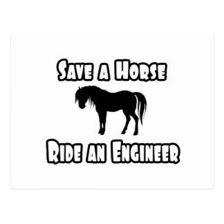 Ahorre un caballo, monte a un ingeniero tarjetas postales