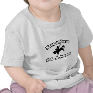 Ahorre un caballo monte a un mormón camiseta