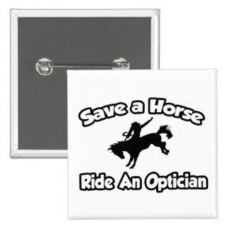 Ahorre un caballo, monte a un óptico pin cuadrada 5 cm