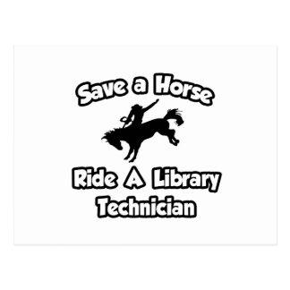 Ahorre un caballo, monte a un técnico de la biblio tarjetas postales