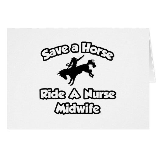 Ahorre un caballo, monte a una partera de la enfer tarjetón