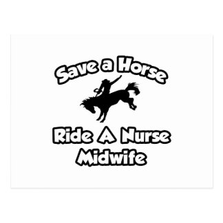 Ahorre un caballo, monte a una partera de la tarjeta postal