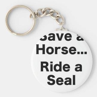 Ahorre un caballo… Monte un sello Llavero Redondo Tipo Pin