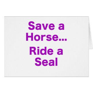 Ahorre un caballo… Monte un sello Tarjeta De Felicitación