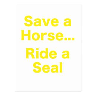 Ahorre un caballo… Monte un sello Tarjeta Postal