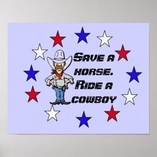 Ahorre un caballo póster
