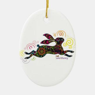 Ahorre un ornamento del arte del conejito adorno navideño ovalado de cerámica