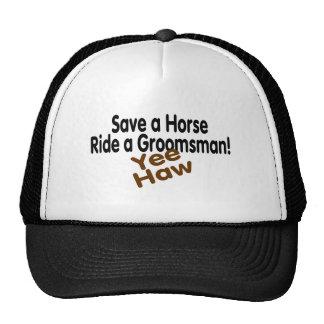 Ahorre un paseo del caballo un padrino de boda gorros