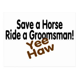 Ahorre un paseo del caballo un padrino de boda tarjeta postal