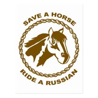 Ahorre un paseo del caballo un ruso tarjeta postal