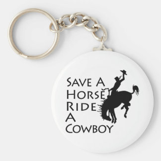 Ahorre un paseo del caballo un vaquero llavero redondo tipo pin