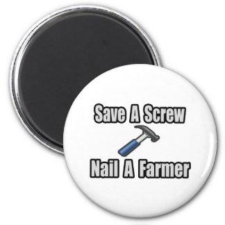 Ahorre un tornillo, clave a un granjero imanes para frigoríficos