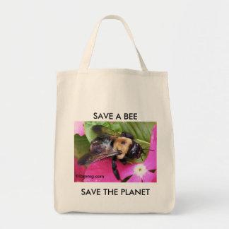 Ahorre una abeja, ahorre el planeta bolsa tela para la compra