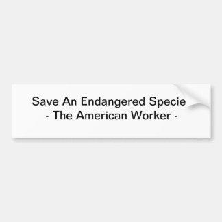 Ahorre una especie en peligro etiqueta de parachoque