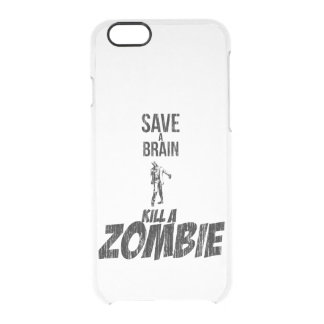 Ahorre una matanza del cerebro un zombi funda clearly™ deflector para iPhone 6 de uncommon