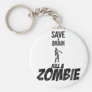 Ahorre una matanza del cerebro un zombi llavero redondo tipo pin