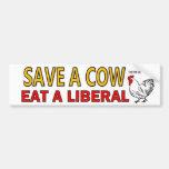 Ahorre una vaca, coma a un liberal pegatina de parachoque