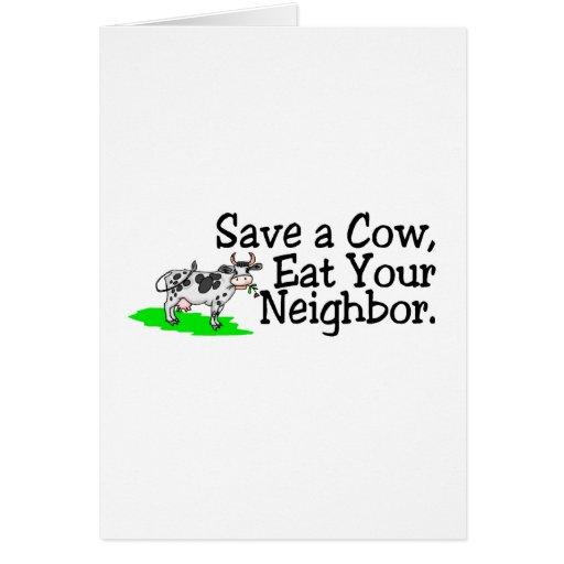 Ahorre una vaca comen a su vecino tarjetón