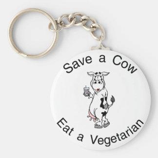 Ahorre una vaca comen a un vegetariano llavero redondo tipo pin