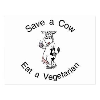 Ahorre una vaca comen a un vegetariano postales