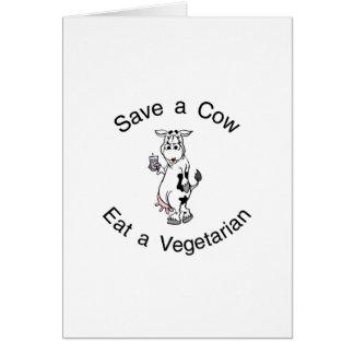 Ahorre una vaca comen a un vegetariano tarjeta de felicitación