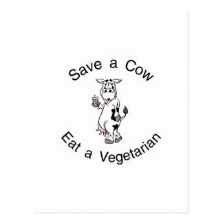 Ahorre una vaca comen a un vegetariano tarjetas postales