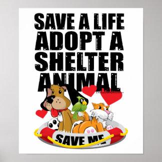 Ahorre una vida adoptan un animal del refugio póster