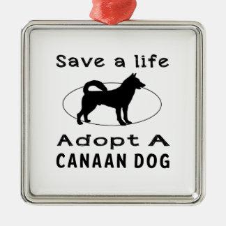 Ahorre una vida adoptan un perro de Canaan Adorno Cuadrado Plateado