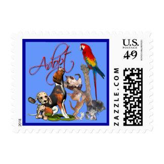 Ahorre una vida, adopte a un mascota timbre postal