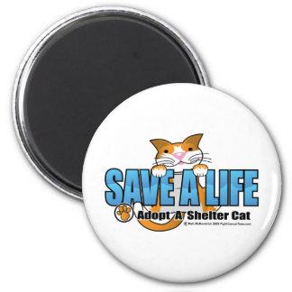 Ahorre una vida: Adopte un gato del refugio Imán Redondo 5 Cm