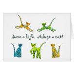 Ahorre una vida. ¡Adopte un gato! Felicitacion