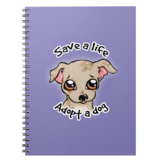 Ahorre una vida. adopte un logotipo del perrito de cuaderno
