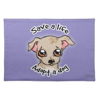 Ahorre una vida. adopte un logotipo del perrito de mantel individual