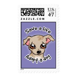 Ahorre una vida. adopte un logotipo del perrito timbres postales