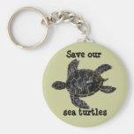 Ahorre y proteja las tortugas de mar llavero redondo tipo pin