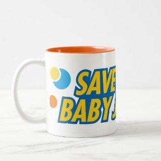 Ahórreme taza divertida de Jesús del bebé