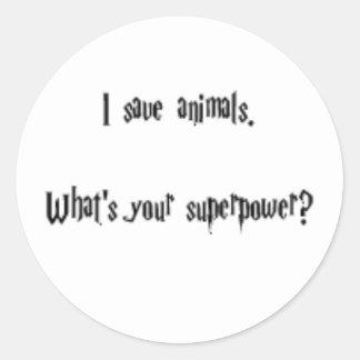 Ahorro animales pegatinas redondas