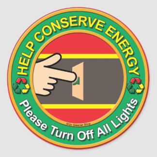 Ahorro de energía pegatina redonda