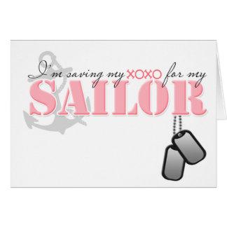 Ahorro de mi XOXO para mi marinero Tarjeta De Felicitación