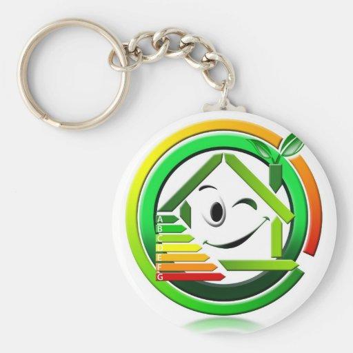 Ahorro energeting del icono llavero redondo tipo pin