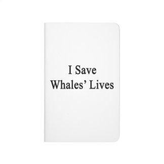 Ahorro las vidas de las ballenas cuaderno grapado