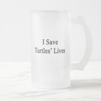 Ahorro las vidas de las tortugas taza cristal mate