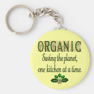 Ahorro orgánico el decir de la cocina del planeta llavero redondo tipo pin